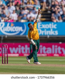 Birmingham, Edgbaston UK - September 21 2019: Samit Patel bowling for the Nottinghamshire Outlaws against Worcestershire Rapids during the 2019 Vitality Blast Finals Day.