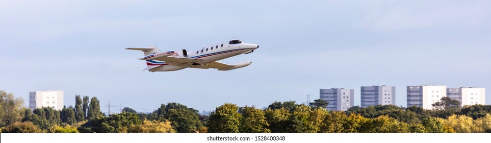 Birmingham, England, 28th September 2019. Learjet 35 D-CTIL flys over the city.