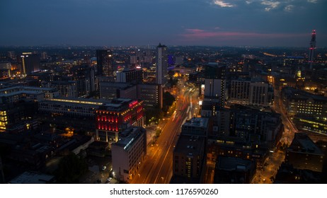 Birmingham, England - August 06 2016:  The city centre with Centenary Square and the Mailhouse shopping centre at sunset. Shot from high vantage point