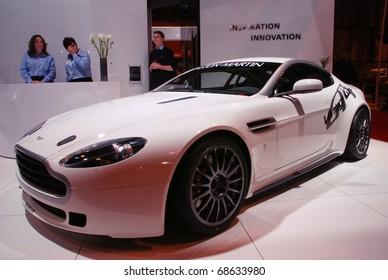 BIRMINGHAM, ENGLAND - JANUARY 10 : Aston Martin Vantage GT4 on January 10th 2009 in Birmingham, England, UK.  The Birmingham NEC is the host of Autosport International Show