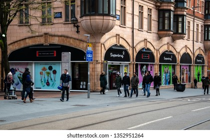 Birmingham, England - March 17 2019:   The frontage of the Superdrug store on Bull Street