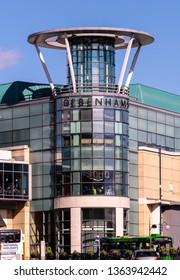 Birmingham, England - March 17 2019:   The entrance to Debenhams department stor ein Moor Street