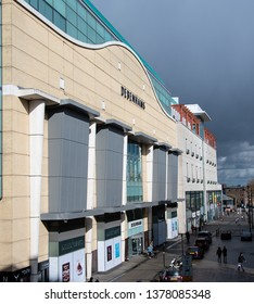 Birmingham, England - March 17 2019:   One entrance to the Bull Ring Debenhams Department store on Edgebaston street