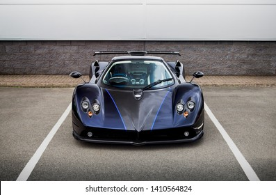 Birmingham, England - May 2018: one-off Pagani Zonda 760 VR supercar attending a Cars & Coffee event in suburban Birmingham. The Italian car is a custom made commission, based on standard Pagani Zonda