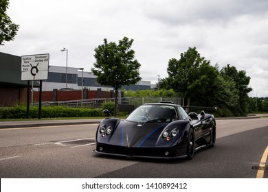Birmingham, England - May 2018: One-off Pagani Zonda 760 VR arriving to a Cars & Coffee event in Birmingham. The Italian-made car is fitted with a 760 horsepower V12 engine.