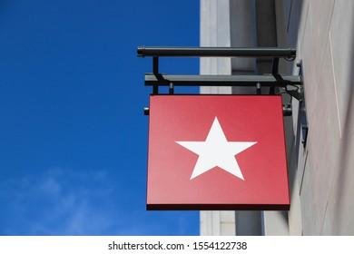BIRMINGHAM, ENGLAND - OCTOBER 19, 2019: Pret a Manger star logo above café entrance in Birmingham, England
