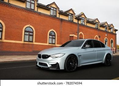 Birmingham, England - October 2017: BMW M3 F80 performance sports car arriving at MSL car meet in suburban Birmingham.