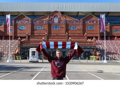 BIRMINGHAM, ENGLAND - SEPTEMBER 17, 2019: Aston Villa supporter outside Villa Park in Birmingham, England
