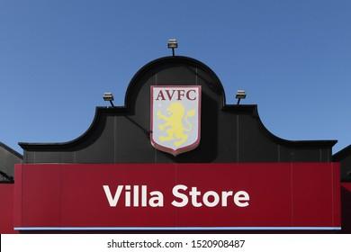 BIRMINGHAM, ENGLAND - SEPTEMBER 17, 2019: Villa Store sign outside Villa Park in Birmingham, England