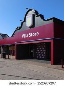 BIRMINGHAM, ENGLAND - SEPTEMBER 17, 2019: Villa Store outside Villa Park in Birmingham, England