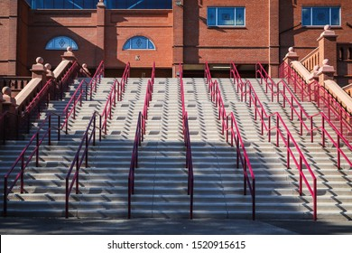 BIRMINGHAM, ENGLAND - SEPTEMBER 17, 2019: View of the stairs at Villa Park in Birmingham, England