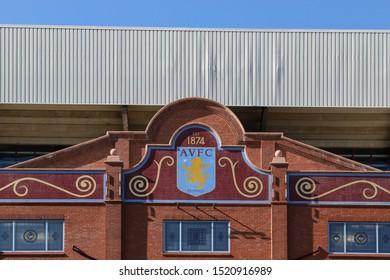 BIRMINGHAM, ENGLAND - SEPTEMBER 17, 2019: Detail view of Villa Park in Birmingham, England