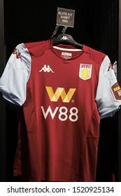 BIRMINGHAM, ENGLAND - SEPTEMBER 17, 2019: Aston Villa match kit inside Villa Store in Birmingham, England