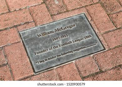 BIRMINGHAM, ENGLAND - SEPTEMBER 17, 2019: William McGregor memorial at Villa Park in Birmingham, England
