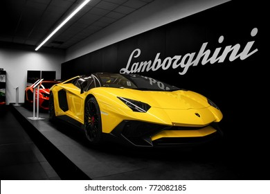 Birmingham, England - September 2017: Lamborghini Aventador SV Roadster supercar displayed in a Lamborghini Birmingham dealership. Only 500 of these cars were made.