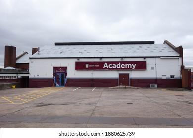 BIRMINGHAM, ENGLAND - SEPTEMBER 3, 2019: Exterior view of the Aston Villa Academy building outside Villa Park in Birmingham, England