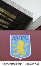 BIRMINGHAM, ENGLAND - SEPTEMBER 3, 2019: Aston Villa logo at Villa Park in Birmingham, England