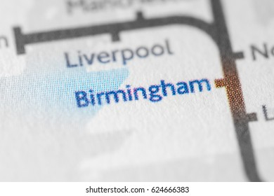 Birmingham, England, UK on a geographical map.