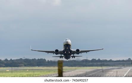 BIRMINGHAM INTERNATIONAL AIRPORT, BIRMINGHAM, UNITED KINGDOM - OCTOBER 28, 2017: a RyanAir Airlines aeroplane taking off in Birmingham International Airport.