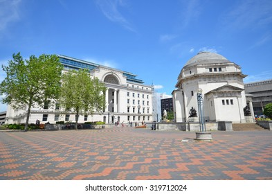 Birmingham - June 24, 2015: view of Centenary Square, Baskerville House and the Hall of Memory in Birmingham, UK. The historic buildings were part of a planned development in the interwar years.