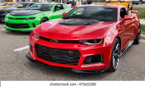 """BIRMINGHAM, MI/USA - AUGUST 19, 2016: A 2016 Camaro ZL1 at the """"50 Years of Camaro"""" exhibit, at the Woodward Dream Cruise. Woodward is a National Scenic Byway."""