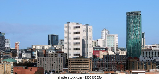 Birmingham skyline UK. Showing 'The Cube', 'The Mail Box' and 'The Radisson' Hotel. Commercial Image 24mp.