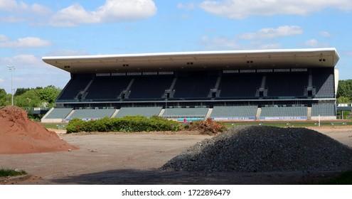 Birmingham, UK - 05/05/2020: Alexander Stadium part demolished in preparation for commonwealth games 2022