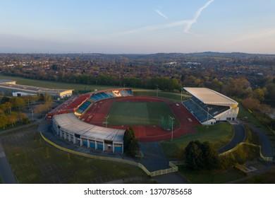 BIRMINGHAM, UK - 2019: Birmingham Alexander Stadium Aerial Shot