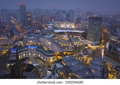BIRMINGHAM, UK - 2019: Birmingham UK city centre at dawn