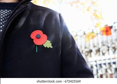 Birmingham, UK - 6 November 2016: Close Up Of Man Wearing Remembrance Day Poppy