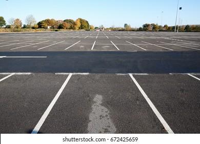 Birmingham, UK - 6 November 2016: Wide Angle View Of Empty Car Park