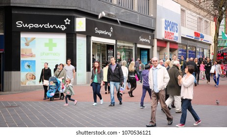 BIRMINGHAM, UK - APRIL 19, 2013: People shop downtown in Birmingham, UK. Birmingham is the most populous British city outside London with 1.07 million residents.