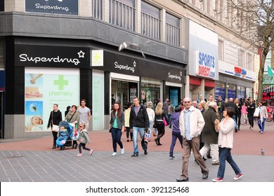 BIRMINGHAM, UK - APRIL 19, 2013: People shop downtown on April 19, 2013 in Birmingham, UK. Birmingham is the most populous British city outside London with 1.07 million residents.