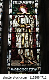 BIRMINGHAM, UK - APRIL 24, 2013: King Salomon on stained glass inside St Martin in the Bull Ring church in Birmingham. The current church was rebuilt in 1873 by architect J. A. Chatwin.