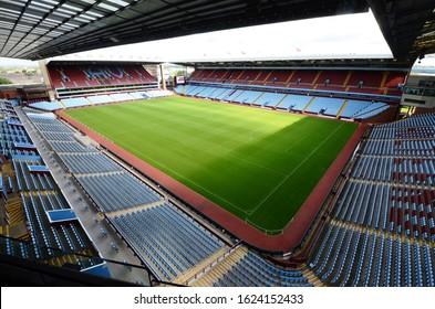 Birmingham / UK - August 13, 2014: Villa Park soccer stadium in Birmingham, England, home of the Aston Villa professional soccer team.