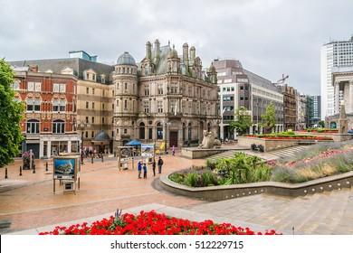 BIRMINGHAM, UK - AUGUST 13, 2016: Street scene in Birmingham city center. Birmingham is the most populous British city outside London.