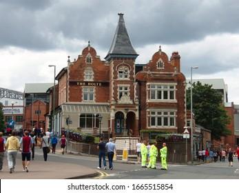 Birmingham /UK - August 9, 2014: The Holte Pub, a famous landmark, is part of  Villa Park, home of the Aston Villa professional soccer team in Birmingham, England.
