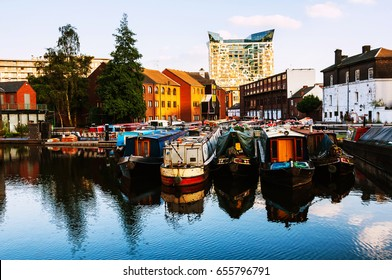 Birmingham, UK. Boats moored in the evening at famous Birmingham canal in UK
