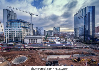 BIRMINGHAM, UK - DECEMBER 01, 2017: Paradise Project, Urban Regeneration buidling site in progress, elevated view from library