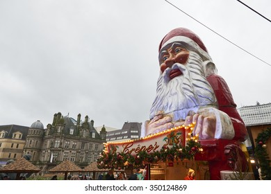 BIRMINGHAM, UK - DECEMBER 03: Low angle shot of large Santa Claus statue in Victoria Square. The statue was part of the decoration of the Christmas market. December 03, 2015 in Birmingham.