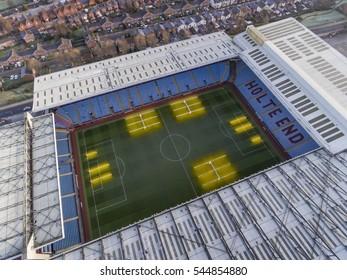 Birmingham, UK - December 2016 - Aerial view of Villa Park, the stadium of Aston Villa Football Club.
