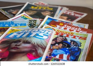 Birmingham, UK - December 2018: selection of 1970's-80's Smash Hits Music Magazine