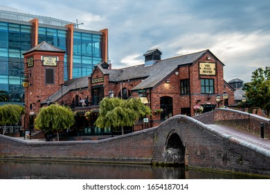Birmingham, UK / February 02, 2020 The Malt House in Brindley Place, view from canal