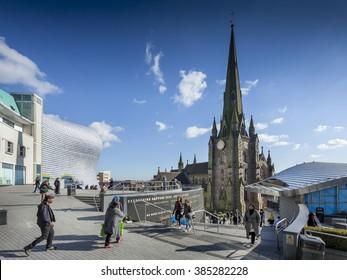 BIRMINGHAM, UK - February 24 2016: The church of St Martin in the Bullring shopping centre, Birmingham, West Midlands, England, UK, Western Europe