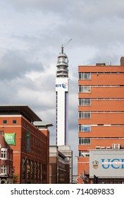 Birmingham, UK - July 7, 2017: BT Tower is the telecommunications tower of British Telecom and the tallest building in Birmingham.