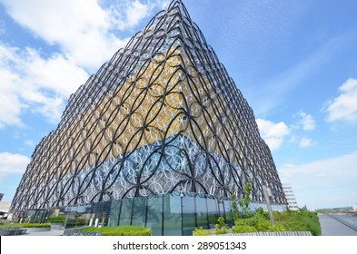 Birmingham, UK - June 16: view of the new library in Birmingham, UK on June 16, 2015. The library attracts thousands of visitors and tourists annually.