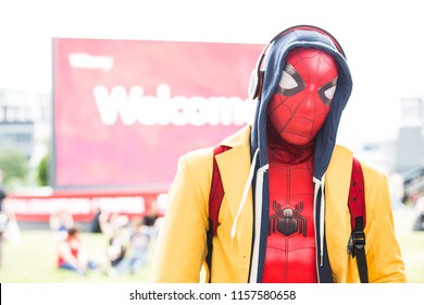 BIRMINGHAM, UK - JUNE 2, 2018. A male cosplayer dressed as a cool version of the Marvel superhero Spiderman at a Collectormania comic con event in Birmingham, UK
