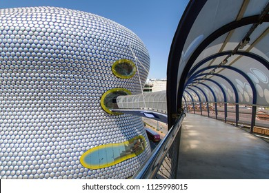 Birmingham, UK: June 29, 2018: View of Selfridges Department Store in Park Street, part of the Bullring Shopping Centre - from the multi-storey car park access bridge.