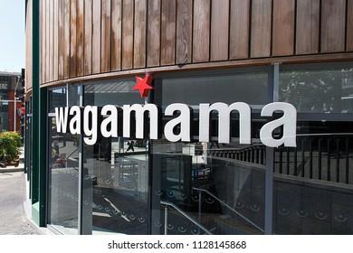 Birmingham, UK: June 29, 2018: Wagamama Japanese style restaurant at the Bullring Shopping Centre - Birmingham.