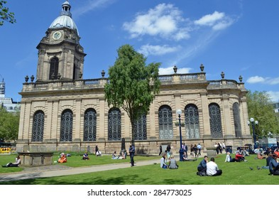 Birmingham, UK - June 4: St Philip's Cathedral with people at lunchtime in Birmingham, UK on June 4, 2015. It is the third smallest cathedral in England.
